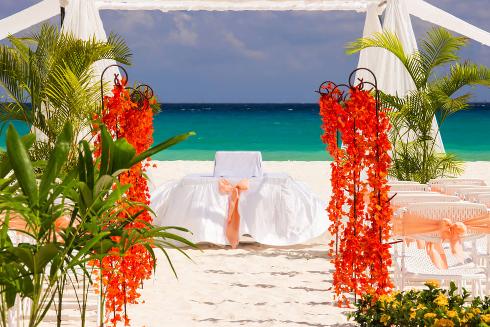 Wedding preparation on Mexican beach weddings against a background of beautiful sea