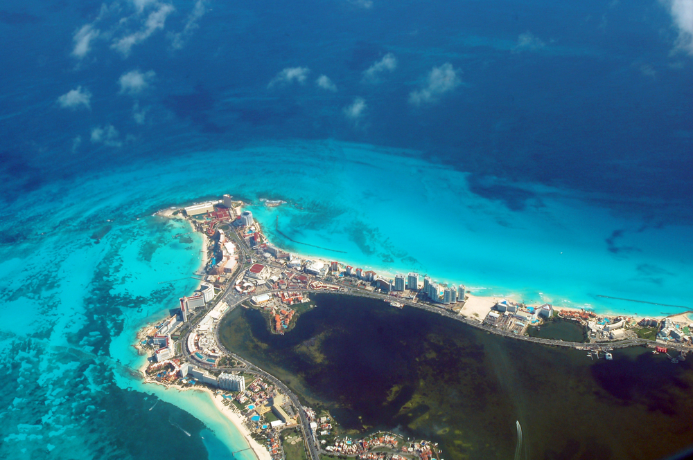 Aerial view of Cancun, Mexico in the Riviera Maya