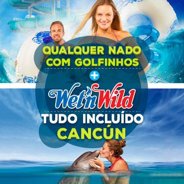 Combo nado com golfinhos mais Wet n Wild Cancun gratis.