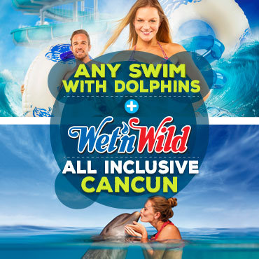 Combo swim with dolphins in Cancun plus Wet n Wild Park.