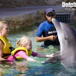 Family quality time with the dolphins at Cozumel.