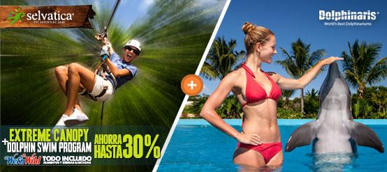 Nadar con delfines más Wet'n Wild Cancun y Tour Selvatica Extreme Canopy paquete promoción.