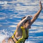 Nado con delfines en Riviera Maya, actividad Foot Push.