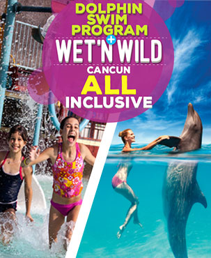 Swimming with dolphins Cancun combo Wet'n Wild All Inclusive.