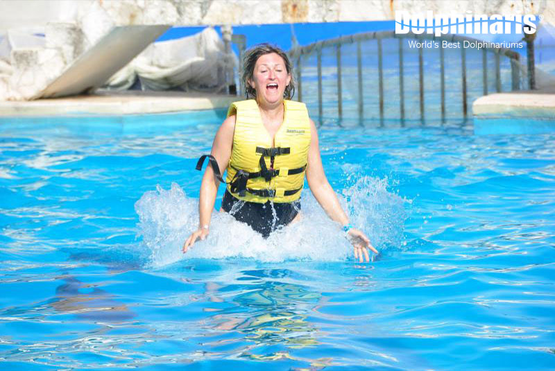 Swimming with dolphins is exciting!