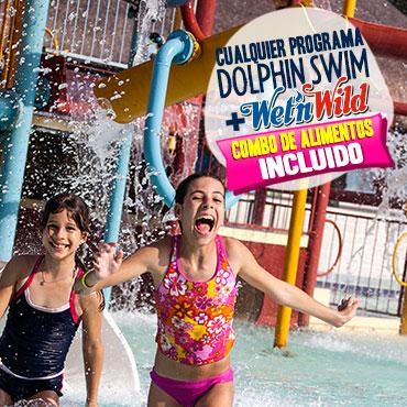 Nadar con delfines Wet'n Wild Cancun parque acuático con combo de alimentos incluido.