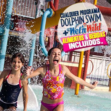 Nadar con delfines Wet'n Wild Cancun parque acuático con alimentos y bebidas incluidas.