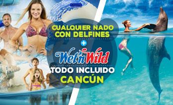 Combo de nado con delfines más Wet'n Wild Cancún con Todo Incluido
