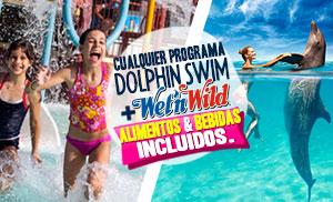 Nadar con delfines mas Wet'n Wild Cancun parque acuatico gratis