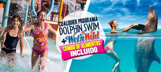 Nadar con delfines mas entrada gratis a Wet'n Wild Cancún parque acuatico.