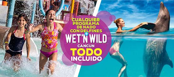 Nado con delfines Cancún combo Wet'n Wild Todo Incluido.