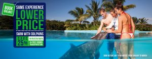 Lower price on your dolphin swim experience at Dolphinaris Riviera Maya Park
