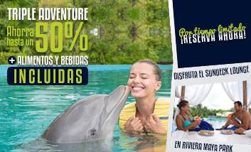 Nadar con Delfines en Riviera maya Park con alimentos y bebidas incluidos.