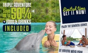 Triple Adventure with Food and Drinks Included in Riviera Maya