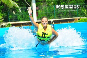 Foot Push in Dolphinaris Riviera Maya Park