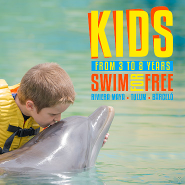 Kids Swim with dolphins For Free in Dolphinaris Riviera Maya, Tulum y Barceló