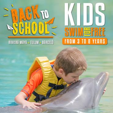 Back To School Dolphin Swim Kids Free Deal at Dolphinaris Cancun, Riviera Maya, Tulum & Cozumel