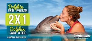 2x1 en nados con delfines en Cancún y Riviera Maya Park