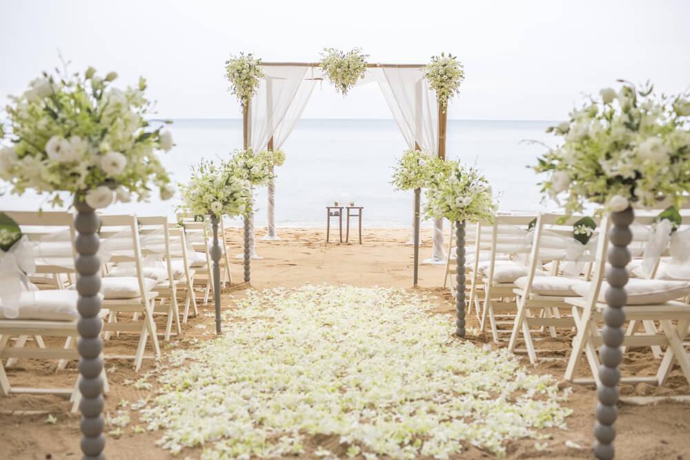 Beach weddings set up.