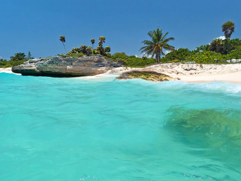Caribbean Sea scenery in Playa del Carmen, Mexico in the Riviera Maya