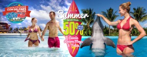 Promoção de verão nado com golfinhos mais Wet n Wild Cancun.