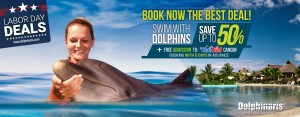 Book now to get the best deal in your swim with dolphins plus free Wet'n WIld Cancun admission.