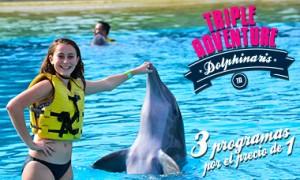 Triple Adventure nado con delfines Riviera Maya Park - Ahorra 25%