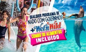 Nadar com golfinhos mais Wet'n Wild Cancun gratis parque acuatico.