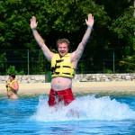 Nadando com golfinhos, impulso do pé